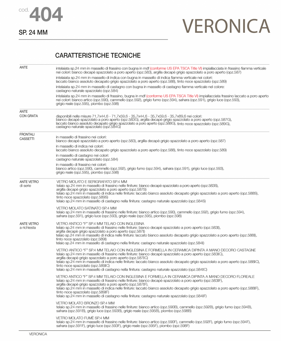 Pagina 2 - Bucatarie Veronica - caracteristici tehnice MOBILA VOGUE Fisa tehnica Italiana, Engleza...