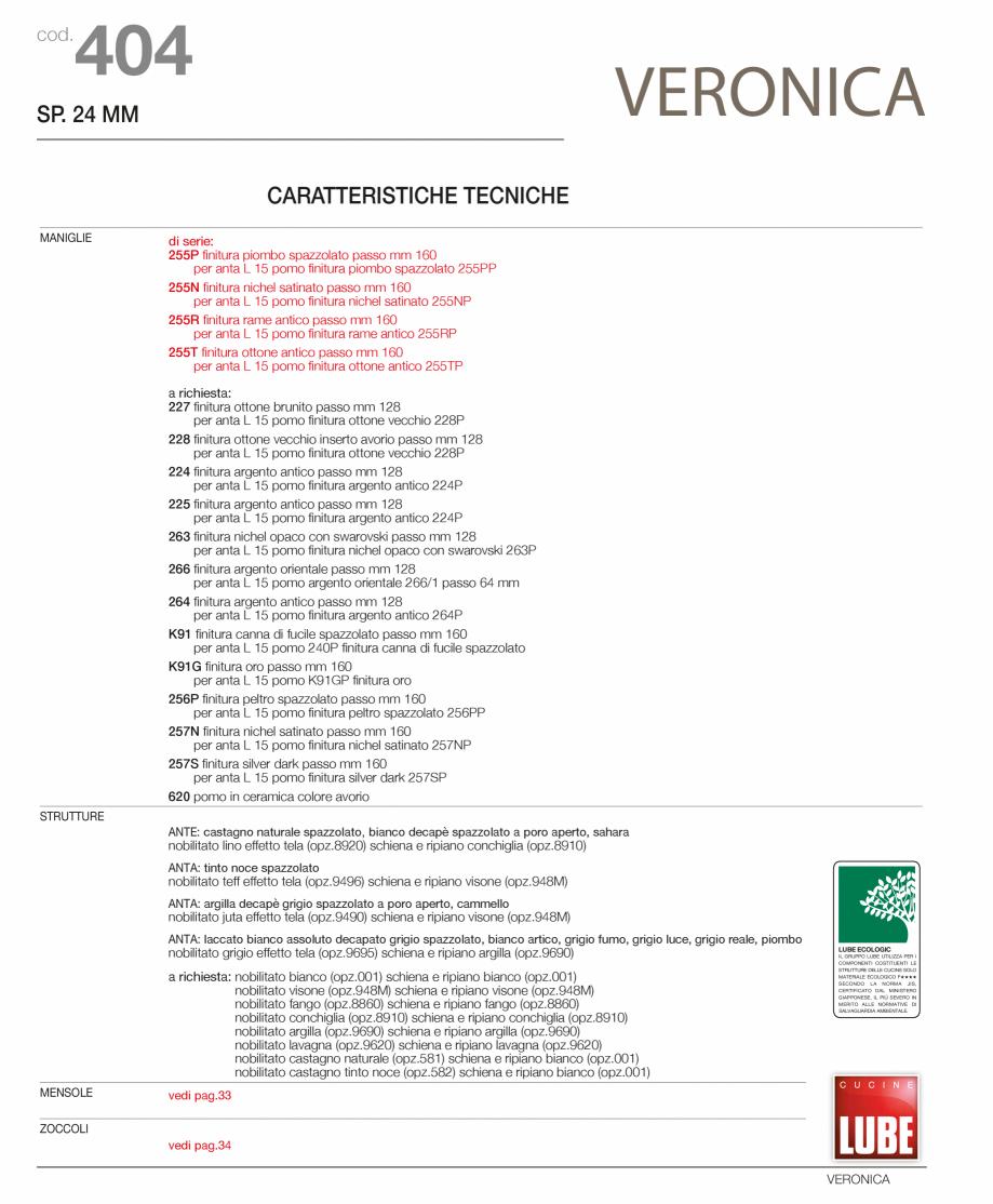 Pagina 3 - Bucatarie Veronica - caracteristici tehnice MOBILA VOGUE Fisa tehnica Italiana, Engleza...