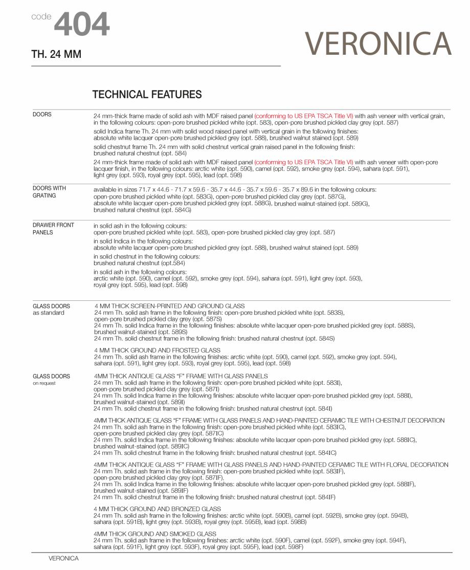 Pagina 4 - Bucatarie Veronica - caracteristici tehnice MOBILA VOGUE Fisa tehnica Italiana, Engleza...