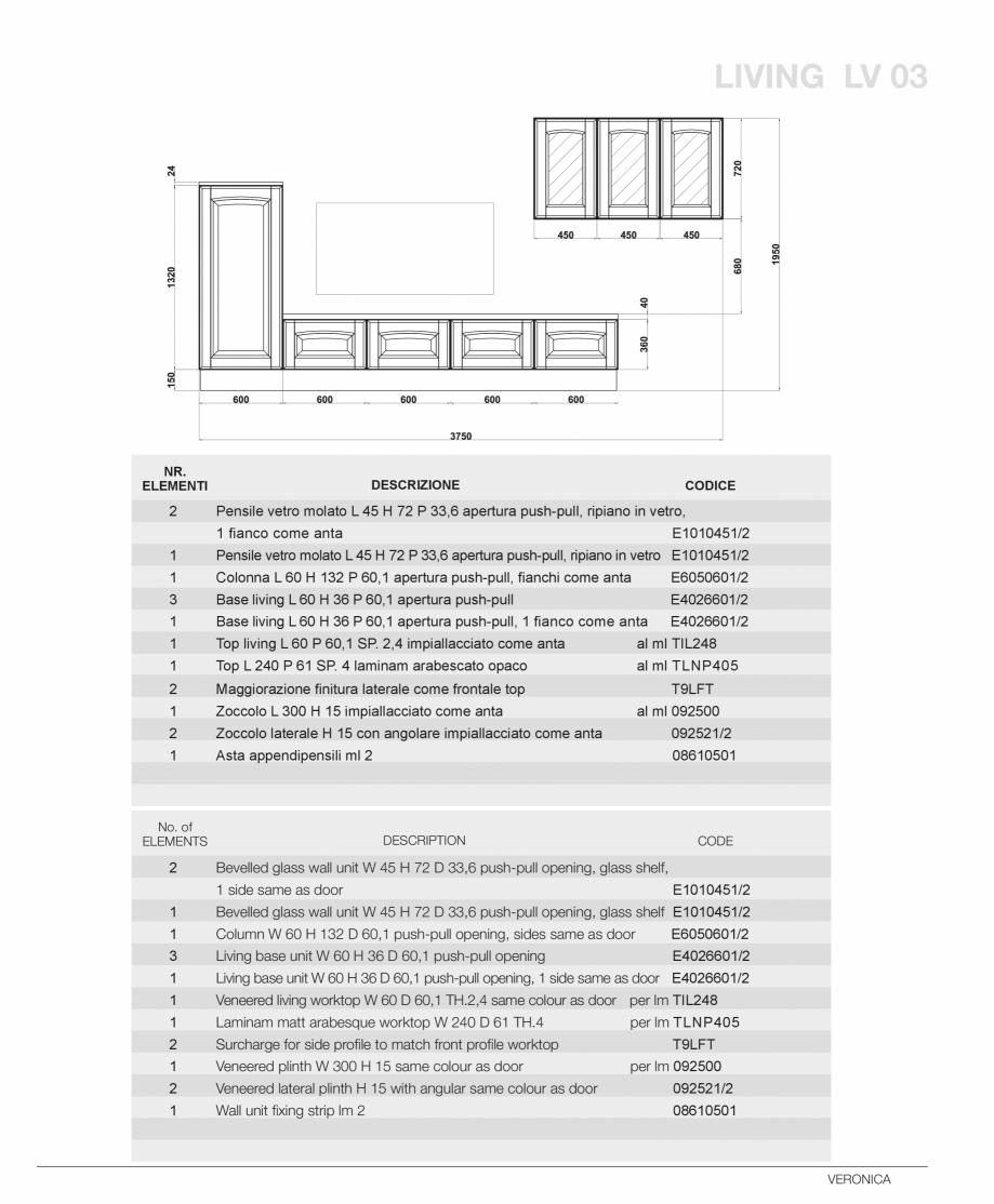 Pagina 49 - Bucatarie Veronica - caracteristici tehnice MOBILA VOGUE Fisa tehnica Italiana, Engleza ...