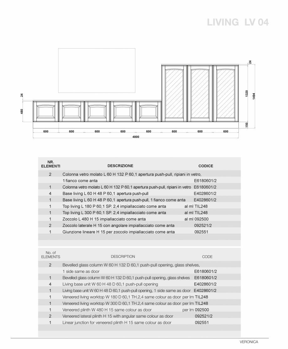 Pagina 51 - Bucatarie Veronica - caracteristici tehnice MOBILA VOGUE Fisa tehnica Italiana, Engleza ...