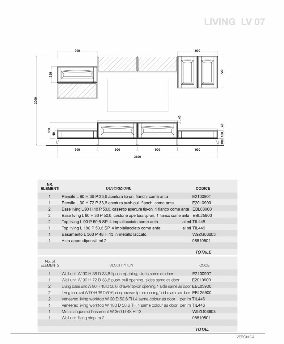 Pagina 57 - Bucatarie Veronica - caracteristici tehnice MOBILA VOGUE Fisa tehnica Italiana, Engleza ...