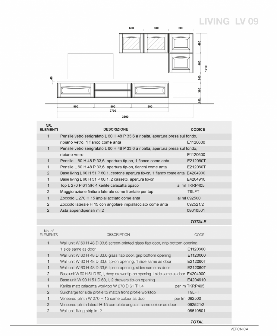 Pagina 61 - Bucatarie Veronica - caracteristici tehnice MOBILA VOGUE Fisa tehnica Italiana, Engleza ...