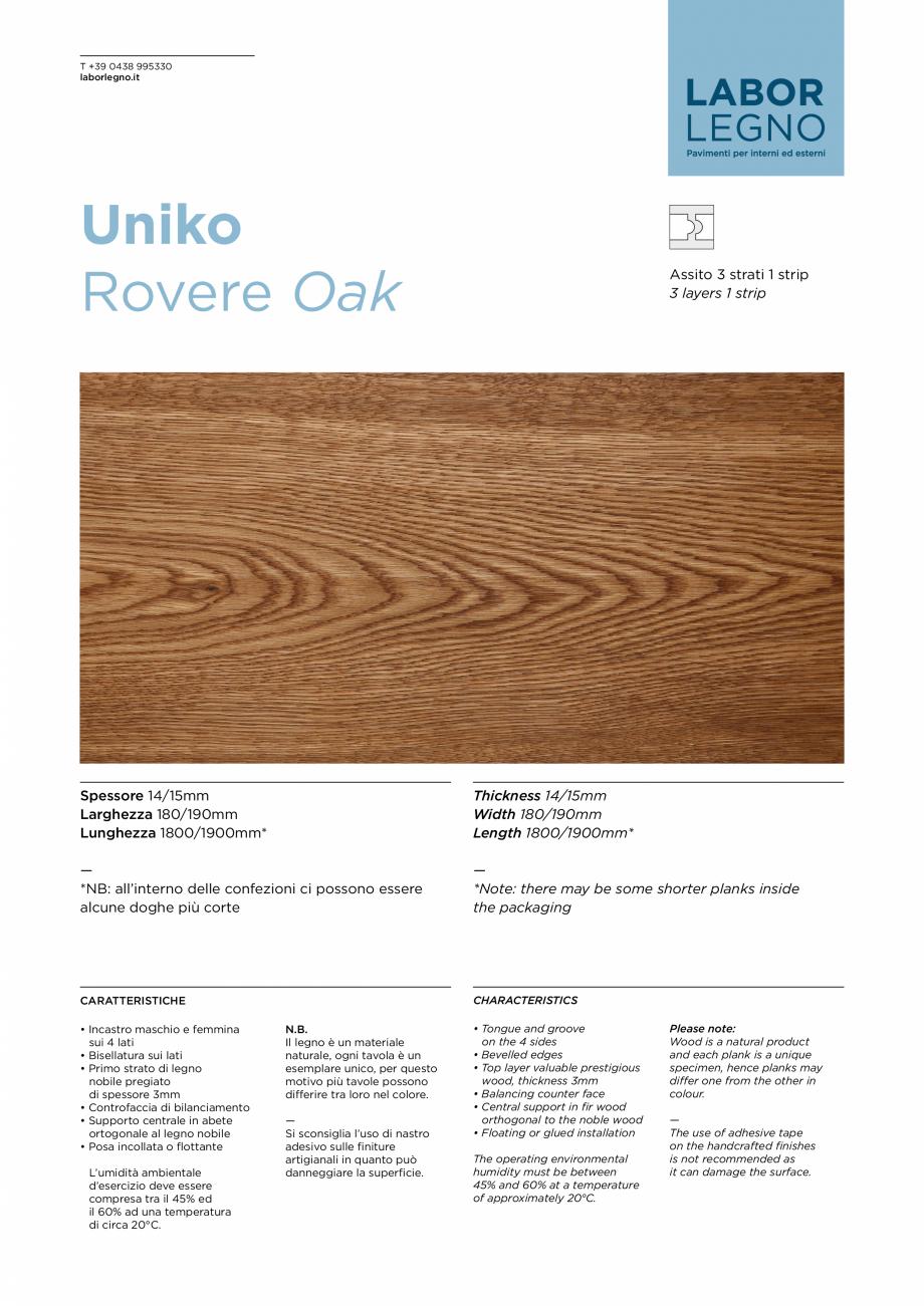 Pagina 1 - Parchet din lemn de stejar MOBILA VOGUE Uniko Fisa tehnica Italiana, Engleza T +39 0438...