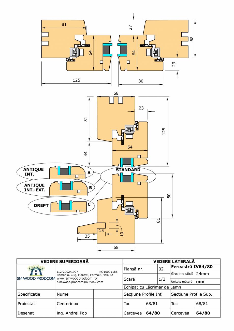 Pagina 1 - CAD-PDF Fereastra din lemn IV64/80 SM WOOD PRODCOM Detaliu de produs