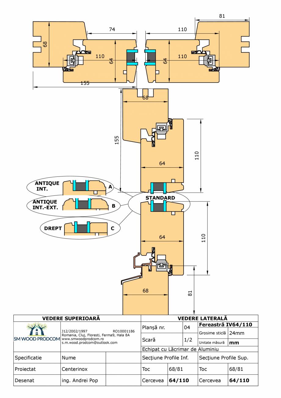 Pagina 1 - CAD-PDF Fereastra din lemn IV64/110 SM WOOD PRODCOM Detaliu de produs