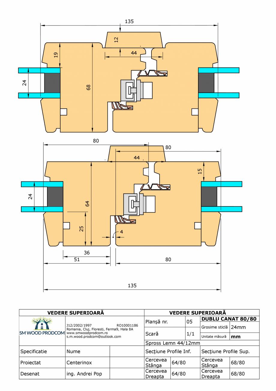 Pagina 1 - CAD-PDF Fereastra din lemn dublu canat 80/80 SM WOOD PRODCOM Detaliu de produs