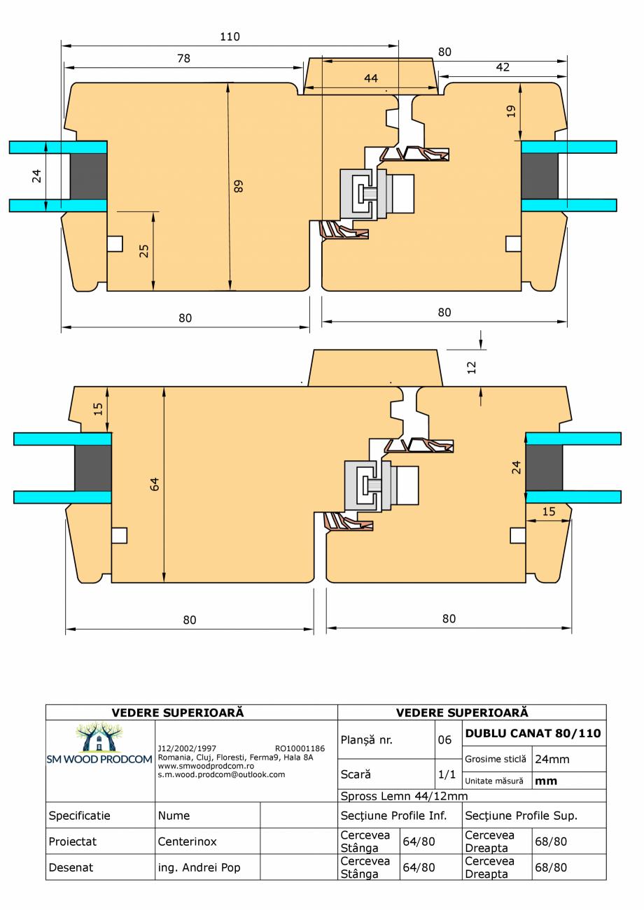 Pagina 1 - CAD-PDF Fereastra din lemn dublu canat 80/110 SM WOOD PRODCOM Detaliu de produs