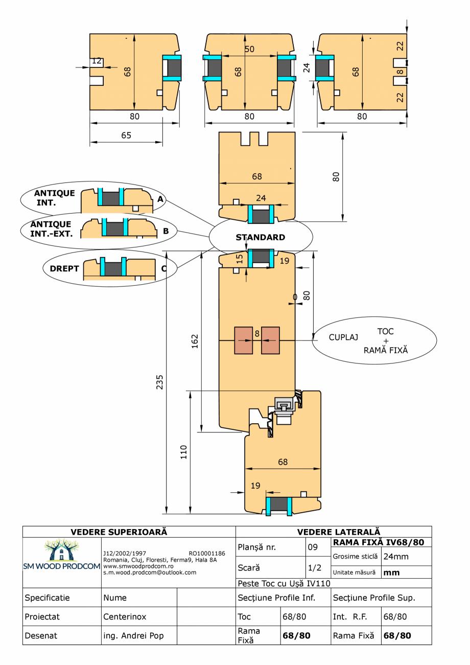 Pagina 1 - CAD-PDF Fereastra din lemn rama fixa IV68/80 SM WOOD PRODCOM Detaliu de produs