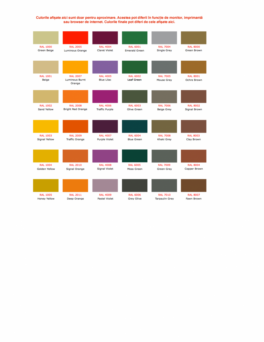 Pagina 1 - Culori RAL pentru ferestre din lemn masiv stratificat SM WOOD PRODCOM Fisa tehnica Romana...