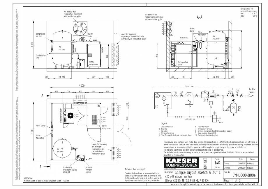 Pagina 1 - CAD-PDF Compresoare cu surub cu transmisie prin curea - model plan de amplasare seria ASD...
