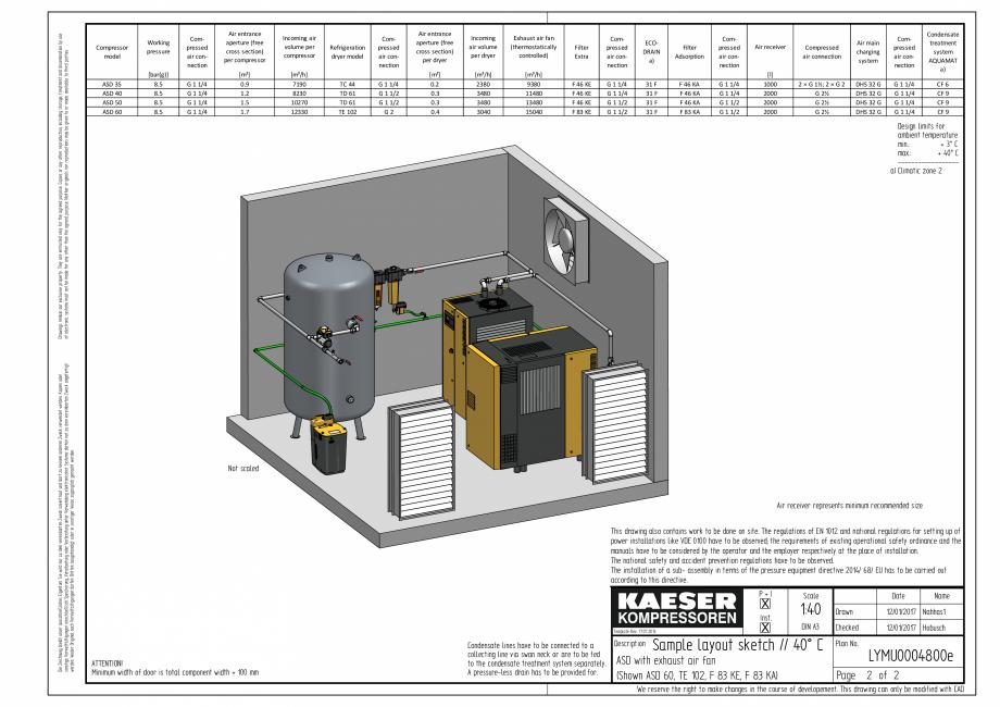 Pagina 2 - CAD-PDF Compresoare cu surub cu transmisie prin curea - model plan de amplasare seria ASD...