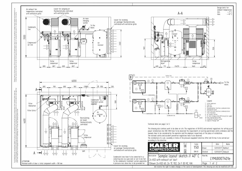 Pagina 3 - CAD-PDF Compresoare cu surub cu transmisie prin curea - model plan de amplasare seria ASD...
