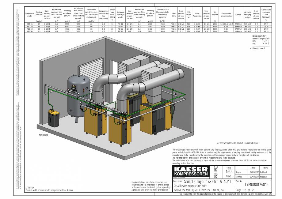 Pagina 4 - CAD-PDF Compresoare cu surub cu transmisie prin curea - model plan de amplasare seria ASD...