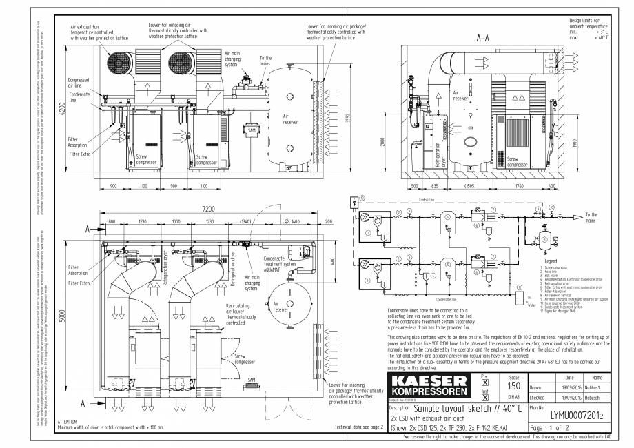 Pagina 1 - CAD-PDF Compresoare cu surub cu transmisie prin curea - model plan de amplasare seria CSD...