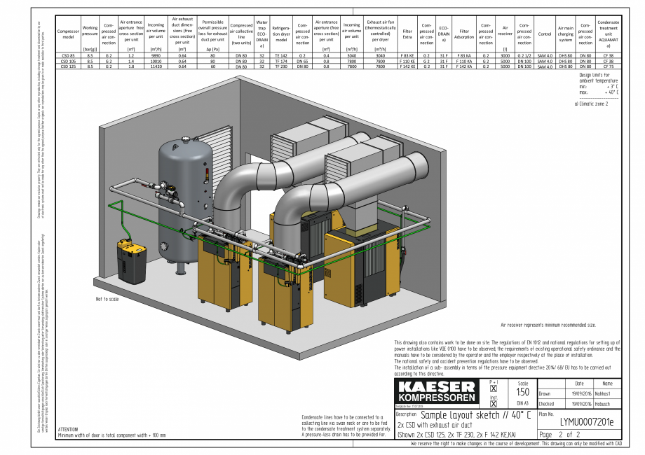Pagina 2 - CAD-PDF Compresoare cu surub cu transmisie prin curea - model plan de amplasare seria CSD...