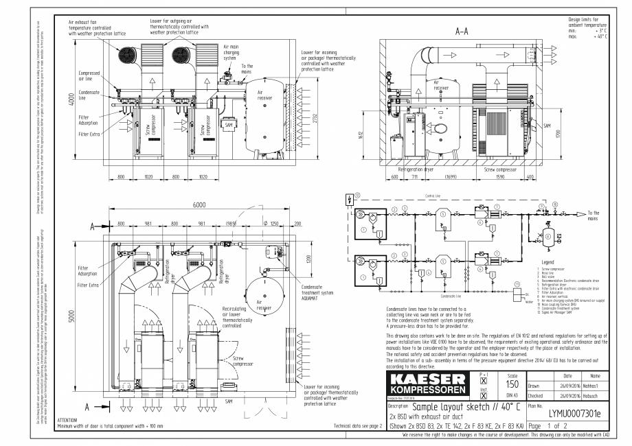 Pagina 1 - CAD-PDF Compresoare cu surub cu transmisie prin curea - model plan de amplasare seria BSD...