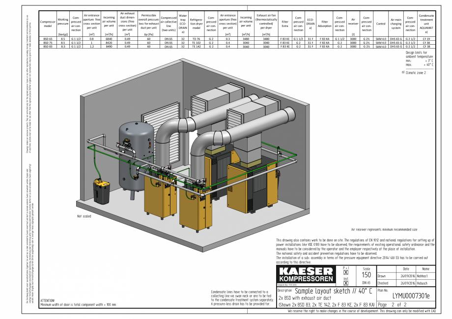 Pagina 2 - CAD-PDF Compresoare cu surub cu transmisie prin curea - model plan de amplasare seria BSD...