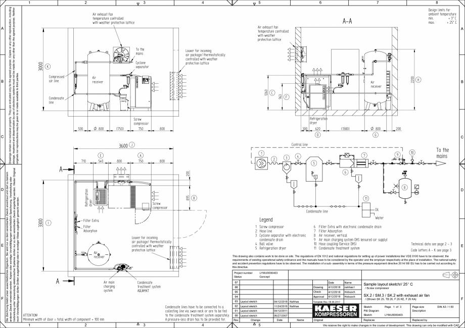 Pagina 1 - CAD-PDF Compresoare cu surub - Exemple pentru planuri de amplasare la seria SX/SM/SK...