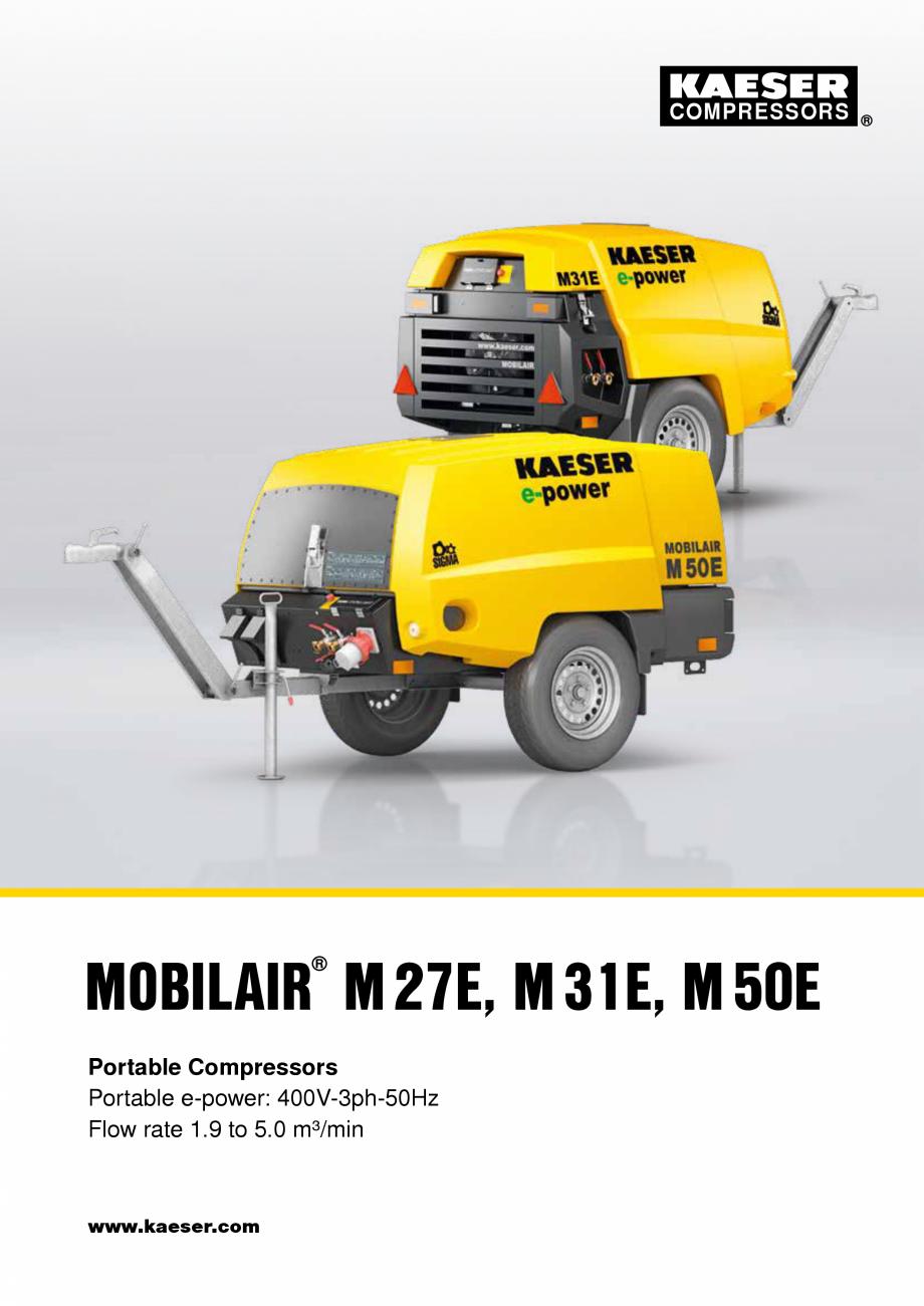 Pagina 1 - Seriile M27E-M31E-M50E KAESER KOMPRESSOREN Catalog, brosura Engleza COMPRESSORS  MOBILAIR...