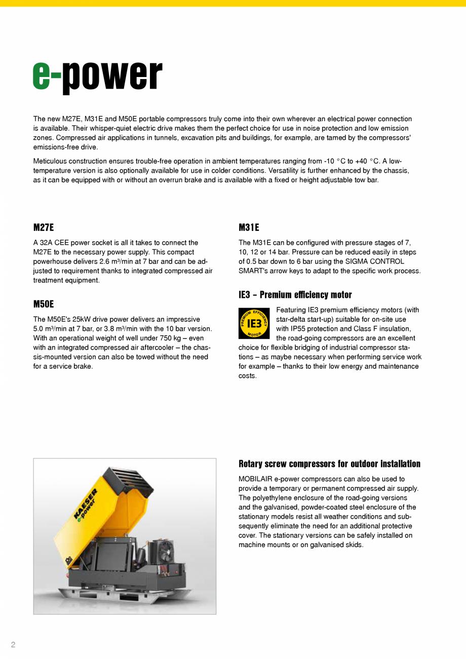 Pagina 2 - Seriile M27E-M31E-M50E KAESER KOMPRESSOREN Catalog, brosura Engleza ly. This compact...
