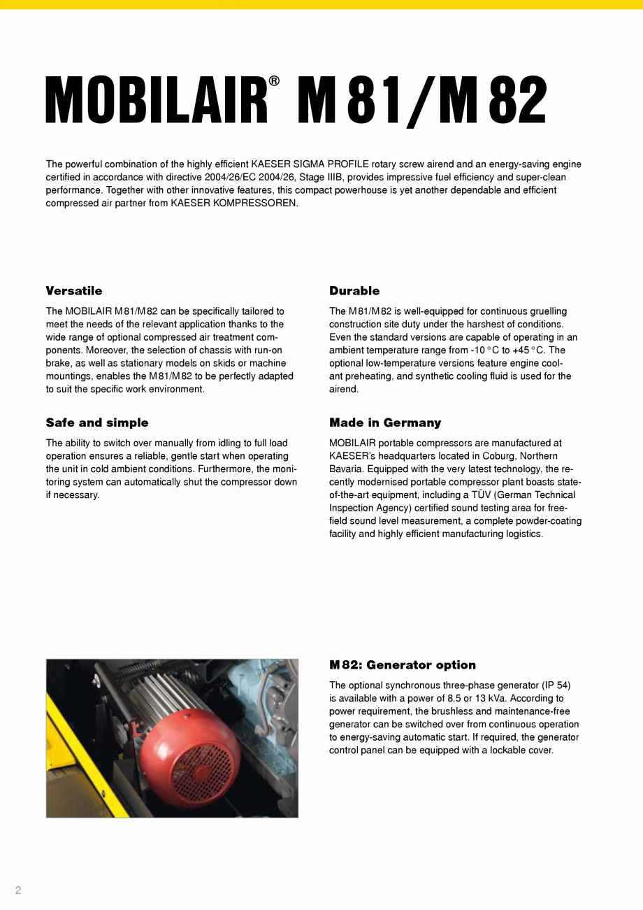 Pagina 2 - Seriile M81 - M82 KAESER KOMPRESSOREN Catalog, brosura Engleza The M81/M82 is...