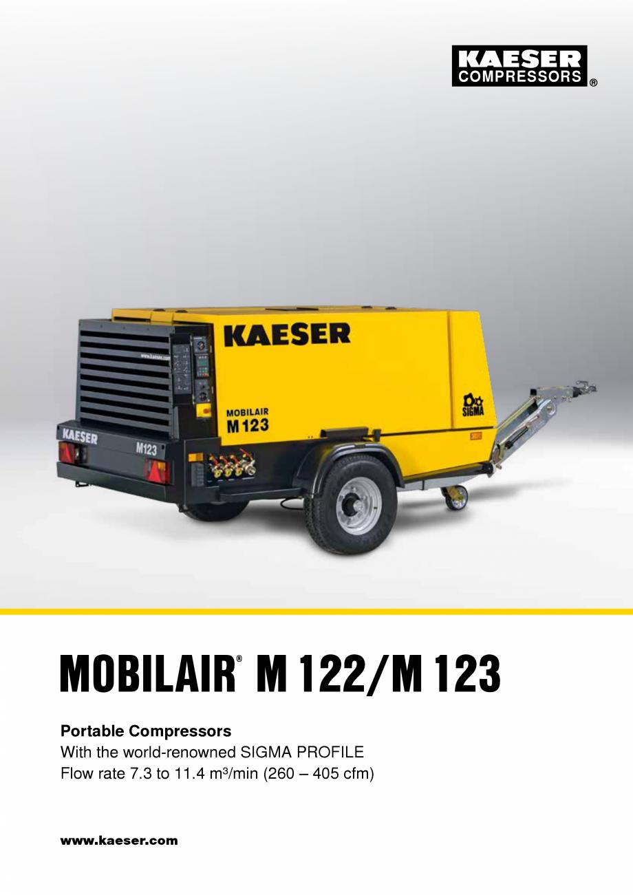 Pagina 1 - Seriile M122- M123 KAESER KOMPRESSOREN Catalog, brosura Engleza COMPRESSORS  MOBILAIR...
