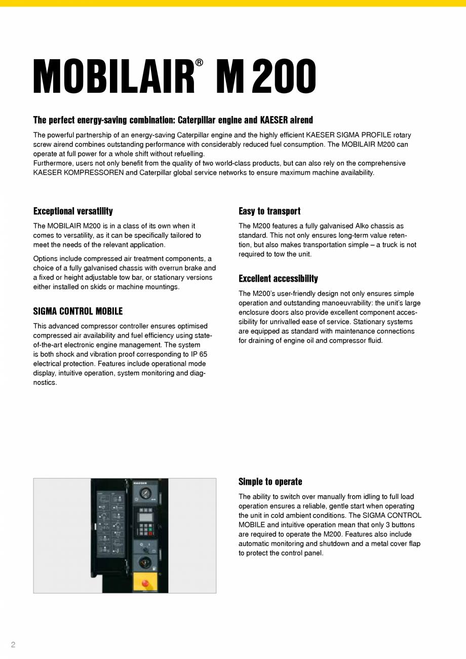 Pagina 2 - Seria M200 KAESER KOMPRESSOREN Catalog, brosura Engleza nised Alko chassis as standard....