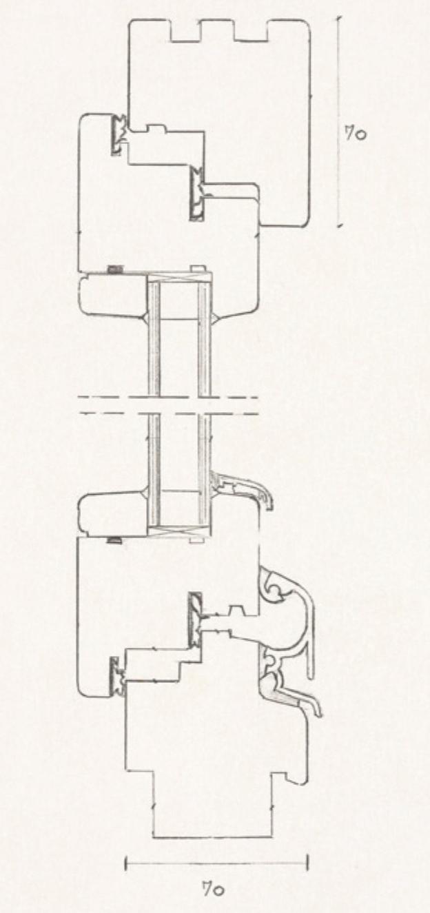 Schiță dimensiuni Fereastra din lemn stratificat - profil 70 mm