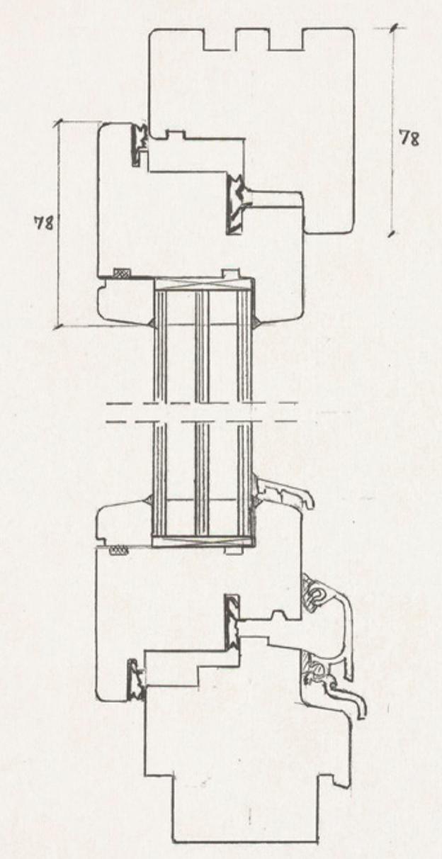 Schiță dimensiuni Fereastra din lemn stratificat - profil 78 mm