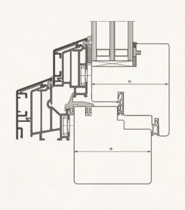 Schiță dimensiuni Fereastra din lemn stratificat - profil 70-78-90 mm