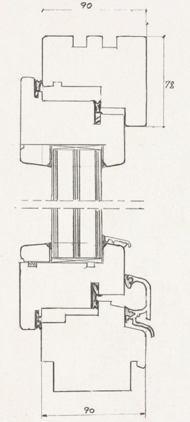 Schiță dimensiuni Fereastra din lemn stratificat - profil 90 mm