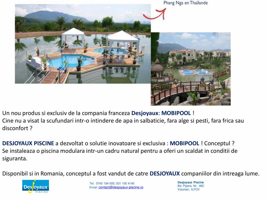 Pagina 2 - MOBIPOOL piscina plutitoare, exclusiv prin DESJOYAUX PISCINE  Catalog, brosura Romana  si...