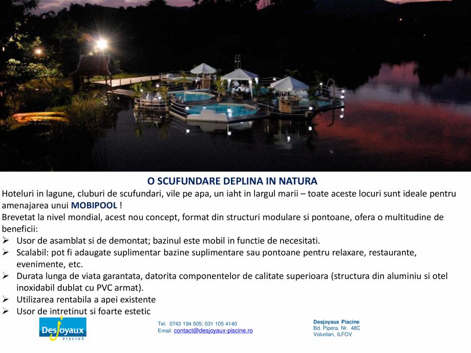 Pagina 3 - MOBIPOOL piscina plutitoare, exclusiv prin DESJOYAUX PISCINE  Catalog, brosura Romana...