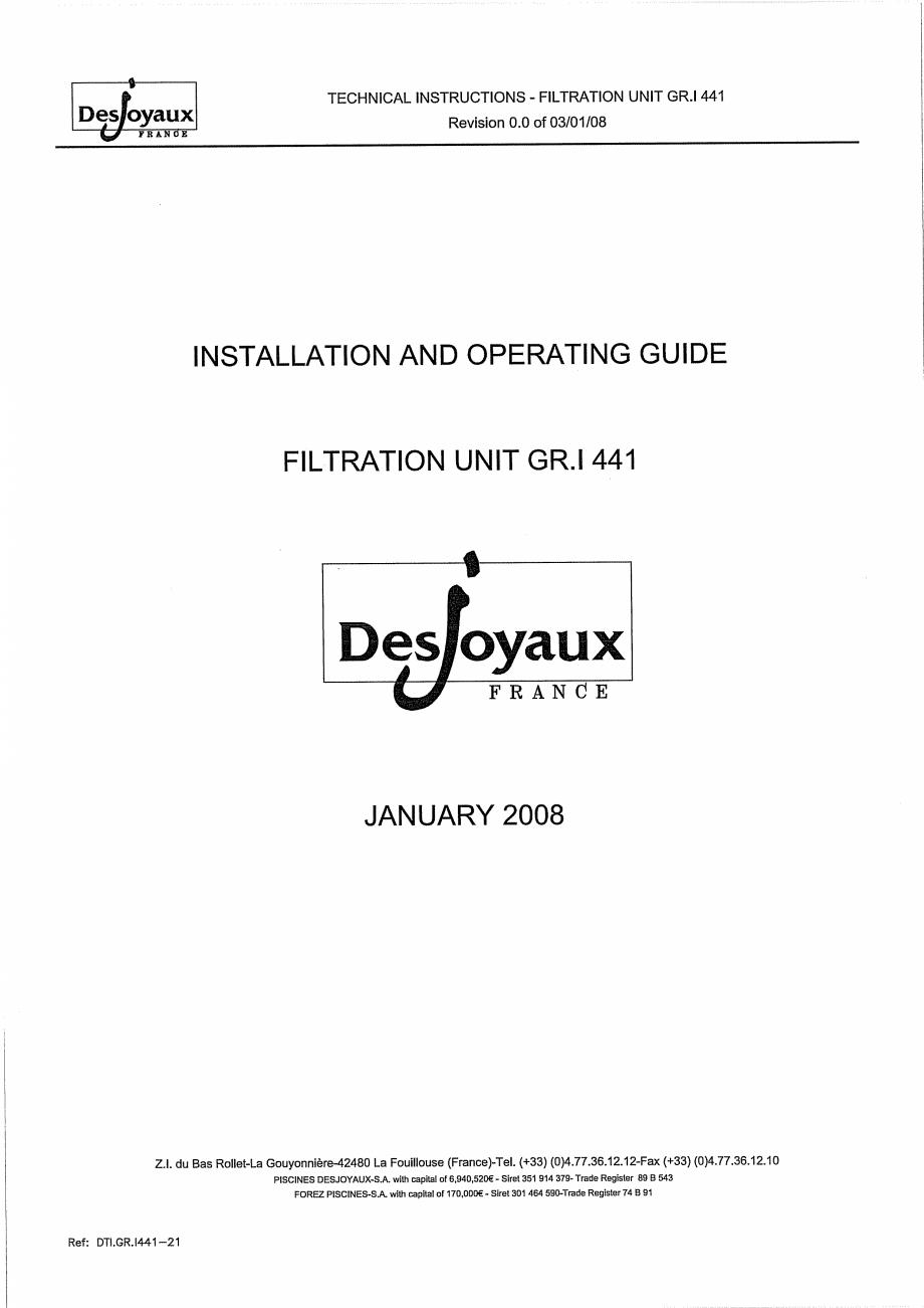 Pagina 1 - Sistem de filtrare cu filtru peste zid  DESJOYAUX GR.I 441 Instructiuni montaj, utilizare...