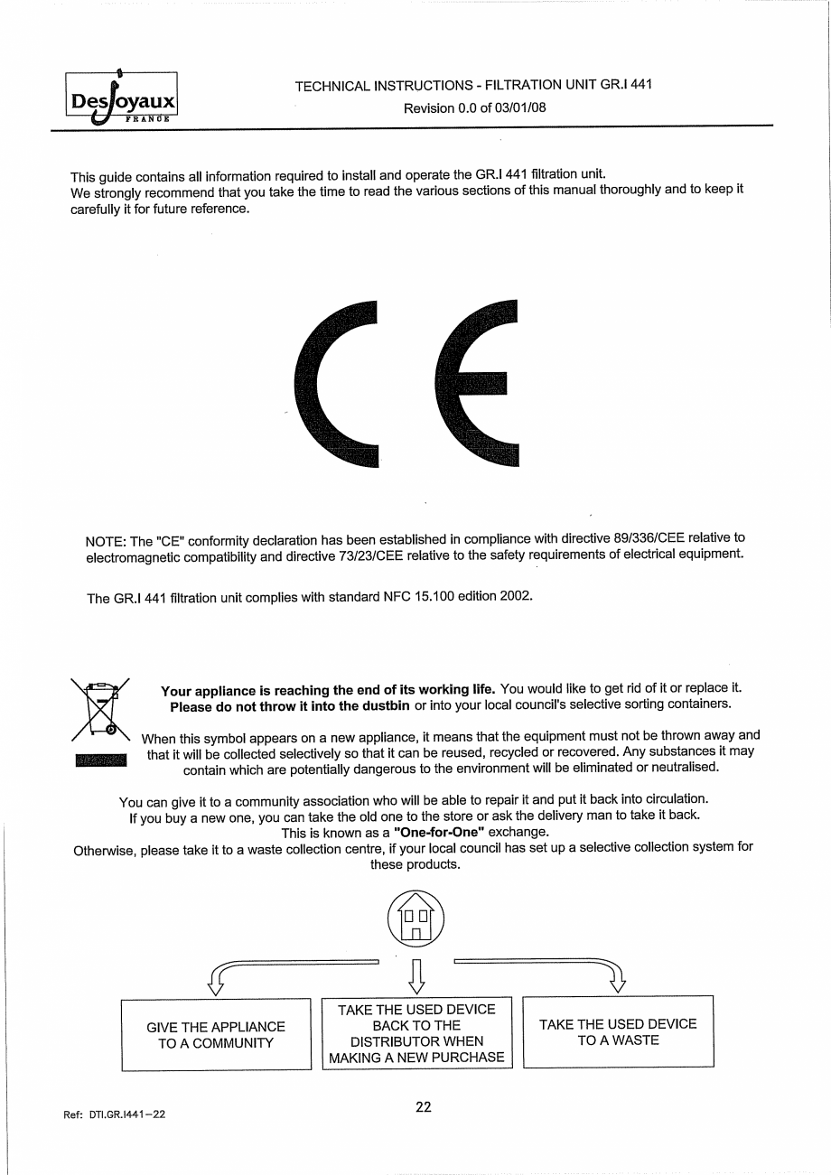Pagina 2 - Sistem de filtrare cu filtru peste zid  DESJOYAUX GR.I 441 Instructiuni montaj, utilizare...