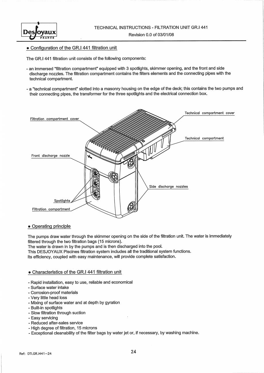 Pagina 4 - Sistem de filtrare cu filtru peste zid  DESJOYAUX GR.I 441 Instructiuni montaj, utilizare...