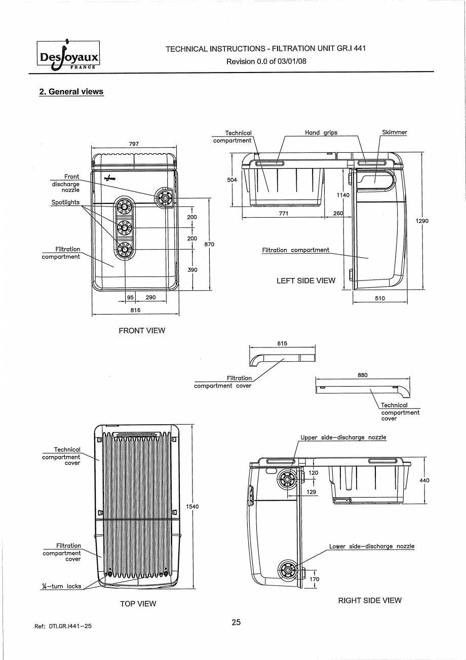 Pagina 5 - Sistem de filtrare cu filtru peste zid  DESJOYAUX GR.I 441 Instructiuni montaj, utilizare...