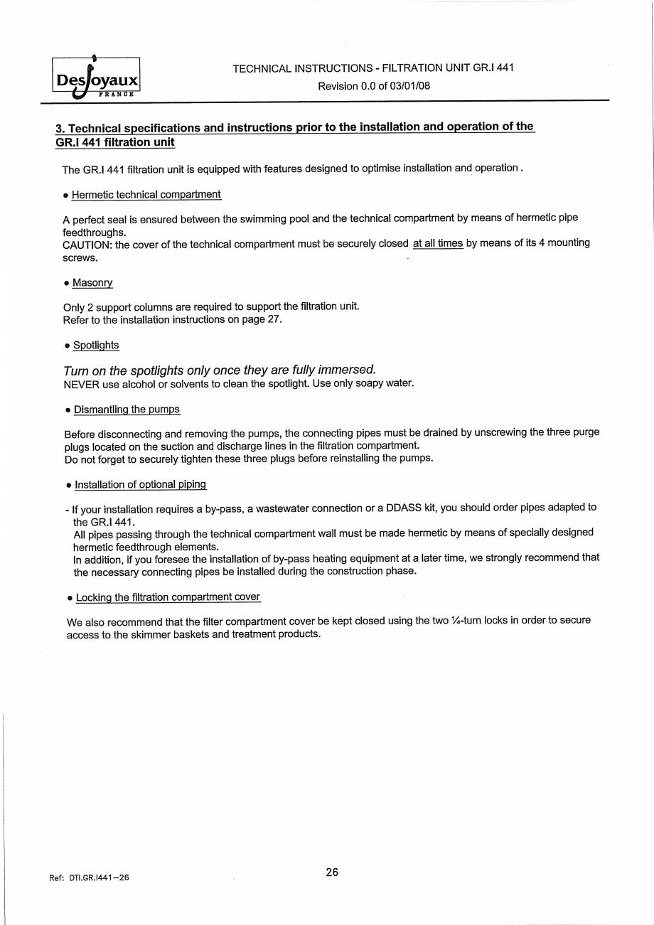 Pagina 6 - Sistem de filtrare cu filtru peste zid  DESJOYAUX GR.I 441 Instructiuni montaj, utilizare...