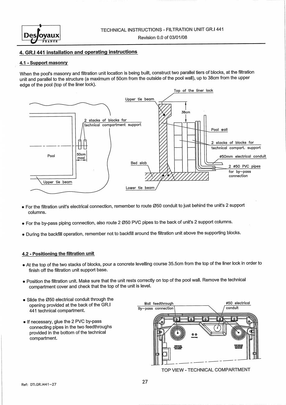 Pagina 7 - Sistem de filtrare cu filtru peste zid  DESJOYAUX GR.I 441 Instructiuni montaj, utilizare...
