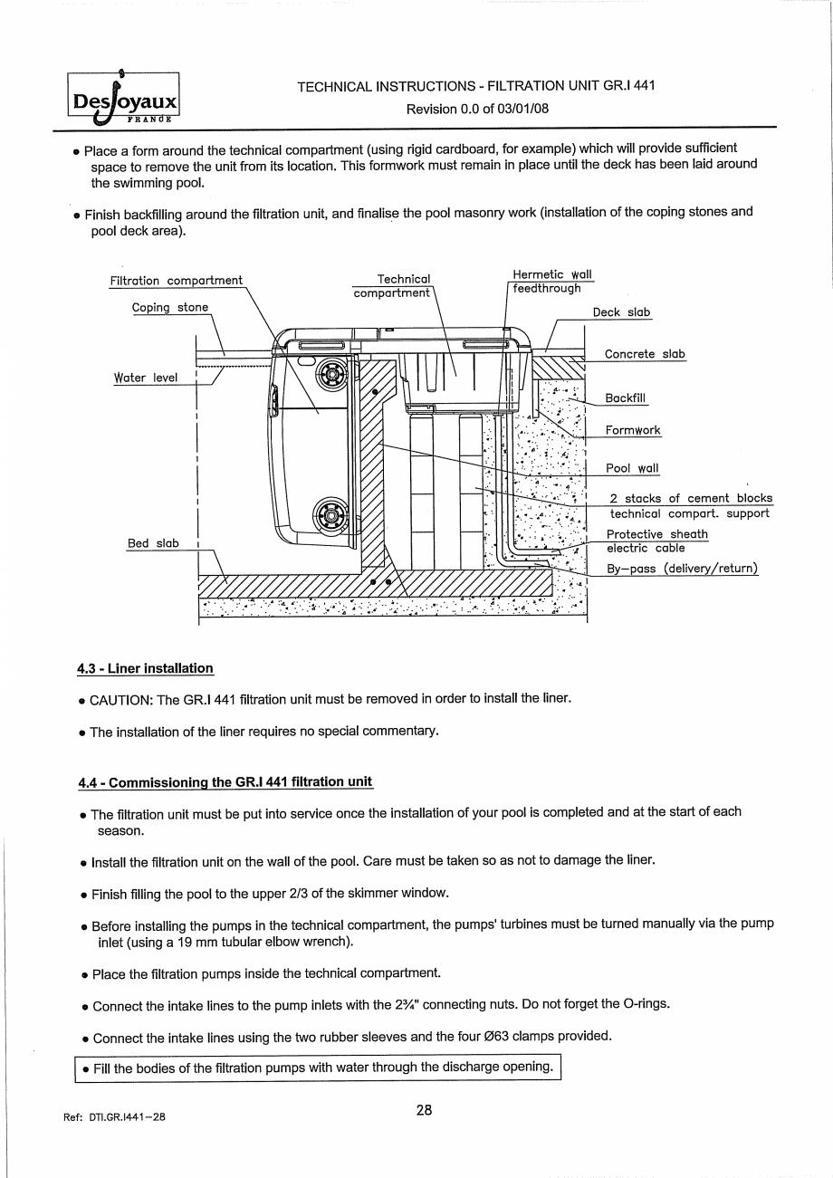 Pagina 8 - Sistem de filtrare cu filtru peste zid  DESJOYAUX GR.I 441 Instructiuni montaj, utilizare...
