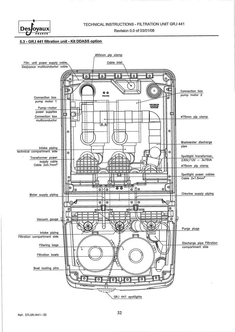 Pagina 12 - Sistem de filtrare cu filtru peste zid  DESJOYAUX GR.I 441 Instructiuni montaj,...