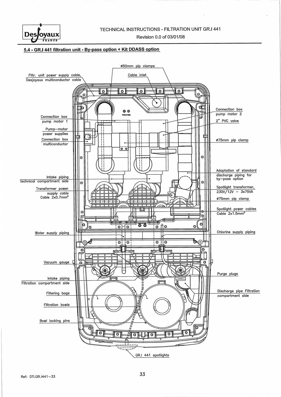 Pagina 13 - Sistem de filtrare cu filtru peste zid  DESJOYAUX GR.I 441 Instructiuni montaj,...