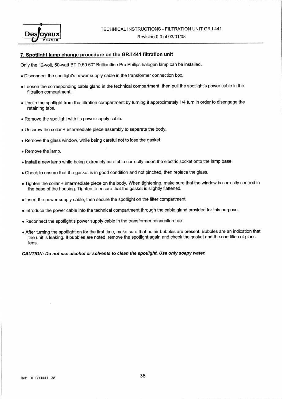 Pagina 18 - Sistem de filtrare cu filtru peste zid  DESJOYAUX GR.I 441 Instructiuni montaj,...