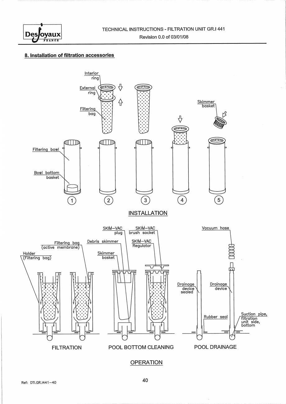 Pagina 20 - Sistem de filtrare cu filtru peste zid  DESJOYAUX GR.I 441 Instructiuni montaj,...