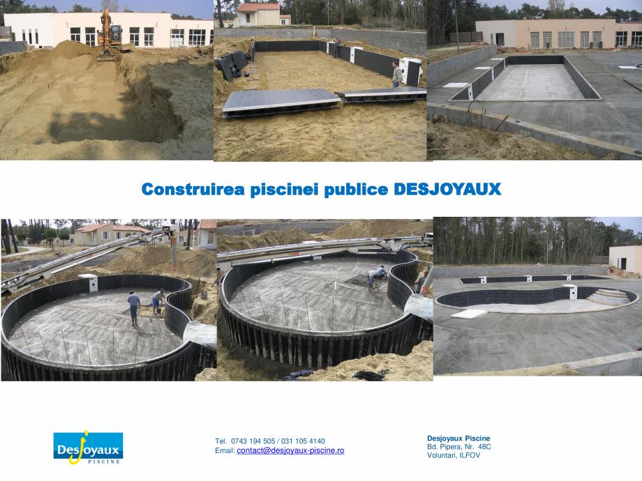 Pagina 1 - Construirea piscinei publice DESJOYAUX Catalog, brosura Romana Construirea piscinei...