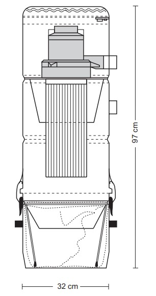 Schiță dimensiuni Aspirator central - ZSA 25/2 DD