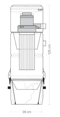 Schiță dimensiuni Aspirator central - ZSA 45/2 DD