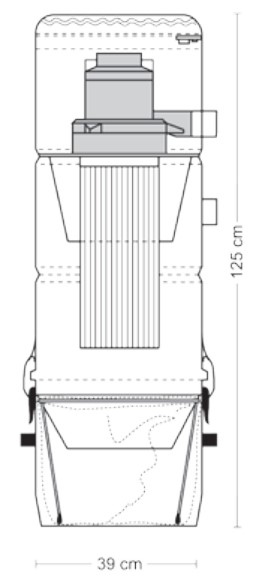 Schiță dimensiuni Aspirator central - ZSA 45/3