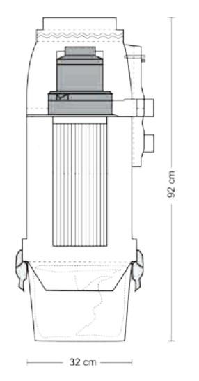 Schiță dimensiuni Aspirator central - Evo 200